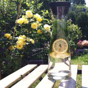 Karaffe mit Zitronenwasser - das perfekte Getränk im Sommer